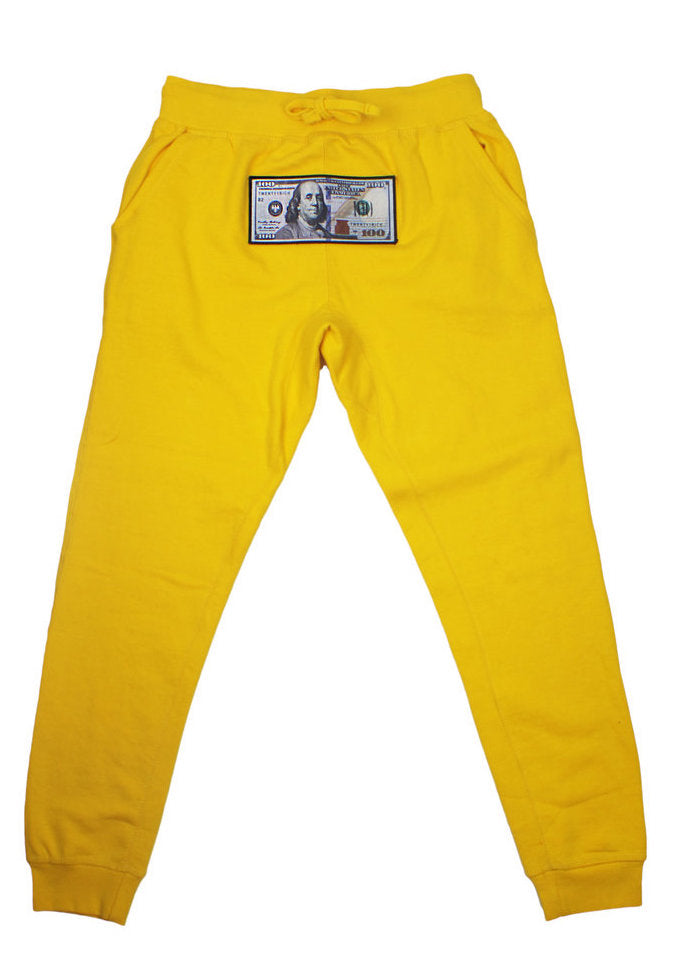 "Yellow ""Blue Hundreds"" Hoodie by Twenty1Rich streetwear with a $100 Blue Hundred Dollar Bill logo, Side Pockets, Cotton, Polyester, and Drawstring Waistband"
