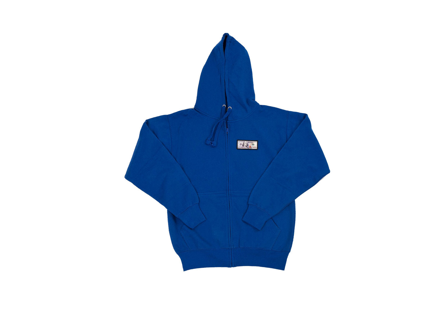 Royal Blue 'Blue Hundreds' Zip Up Hoodie by Twenty1Rich with a $100 logo
