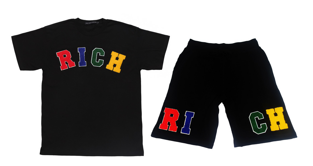 """RICH"" Tee and Shorts Set by Twenty1Rich with the multicolored ""RICH"" logo"
