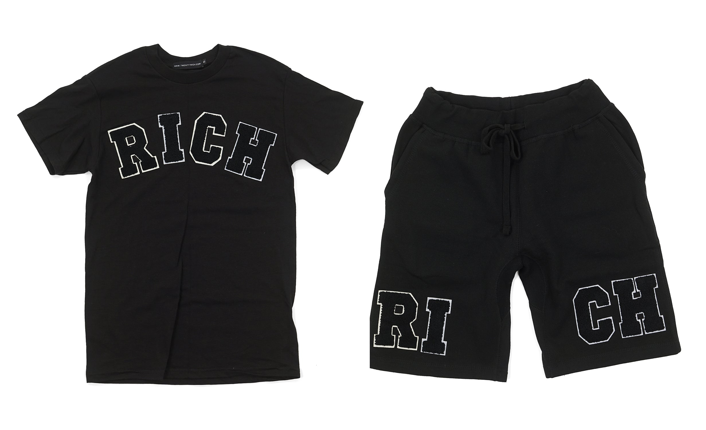 Black 'RICH' Tee and Shorts Set