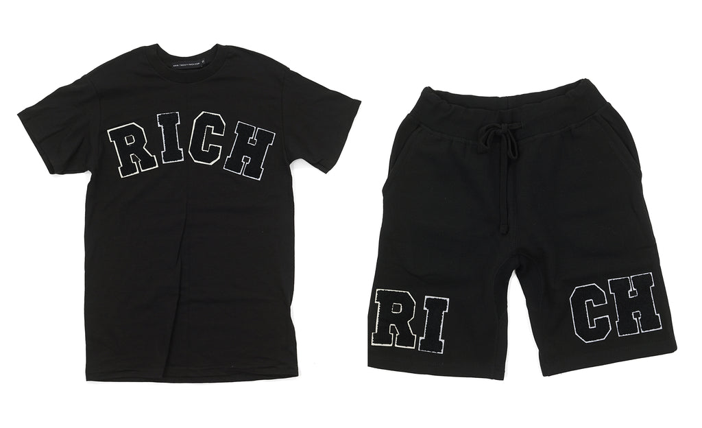 "Black ""RICH"" Tee and Shorts Set by Twenty1Rich with white ""RICH"" logo"