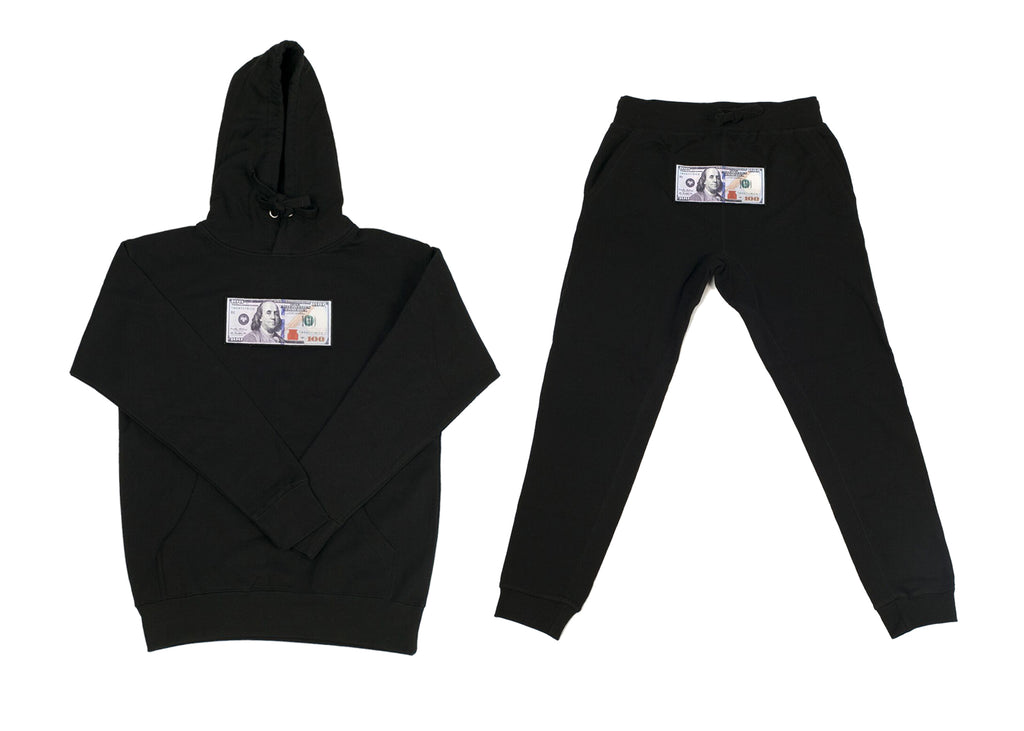 "Black ""Blue Hundreds"" Hoodie and Jogger Set by Twenty1Rich with $100 logo"