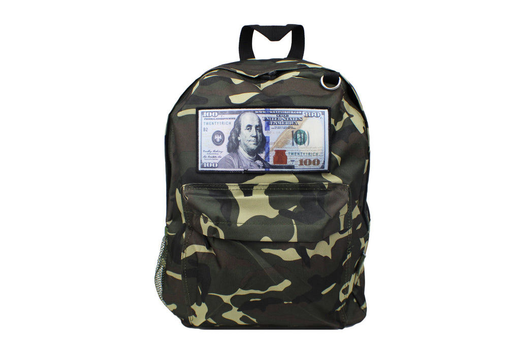 Camo 'Blue Hundreds' Backpack by Twenty1Rich with a $100 logo