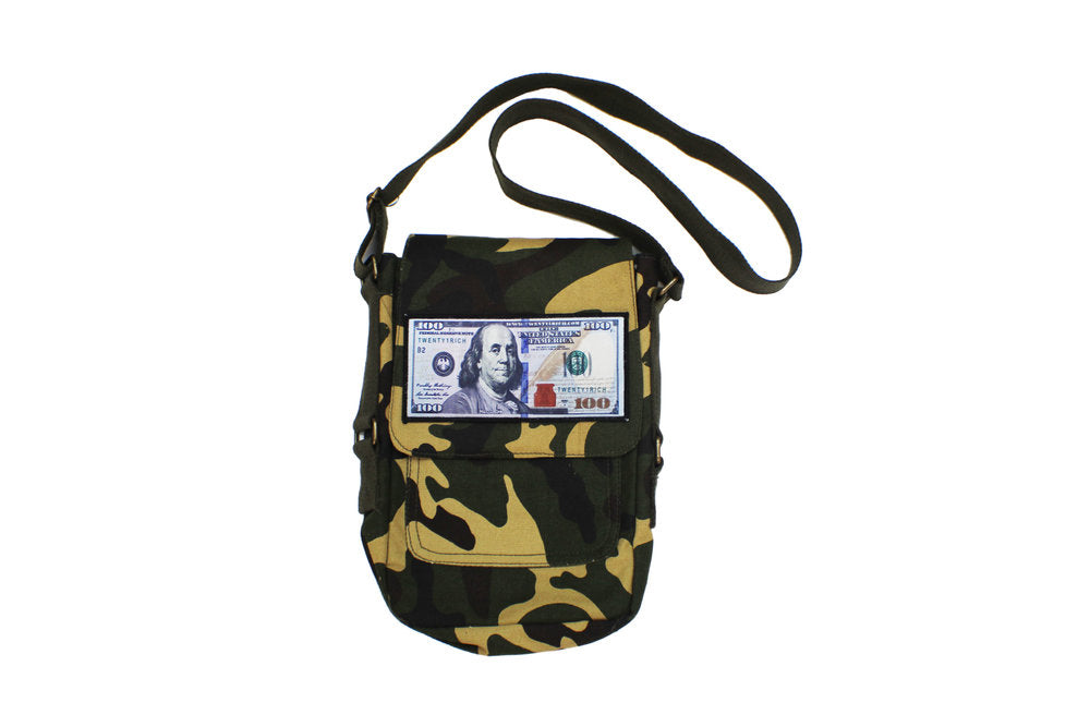 'Blue Hundreds' Cross Body Bag - CAMO by Twenty1Rich