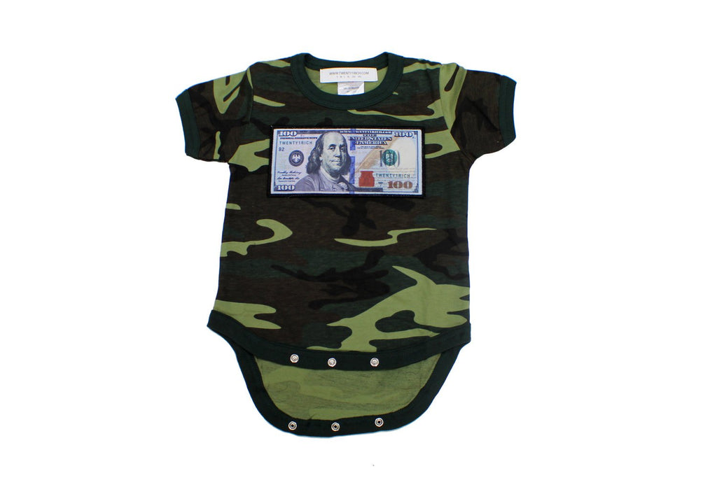 Camo 'Blue Hundreds' Baby Onesie by Twenty1Rich with a $100 logo