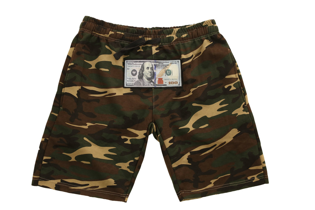Camo Athletic Shorts by Twenty1Rich with a $100 logo