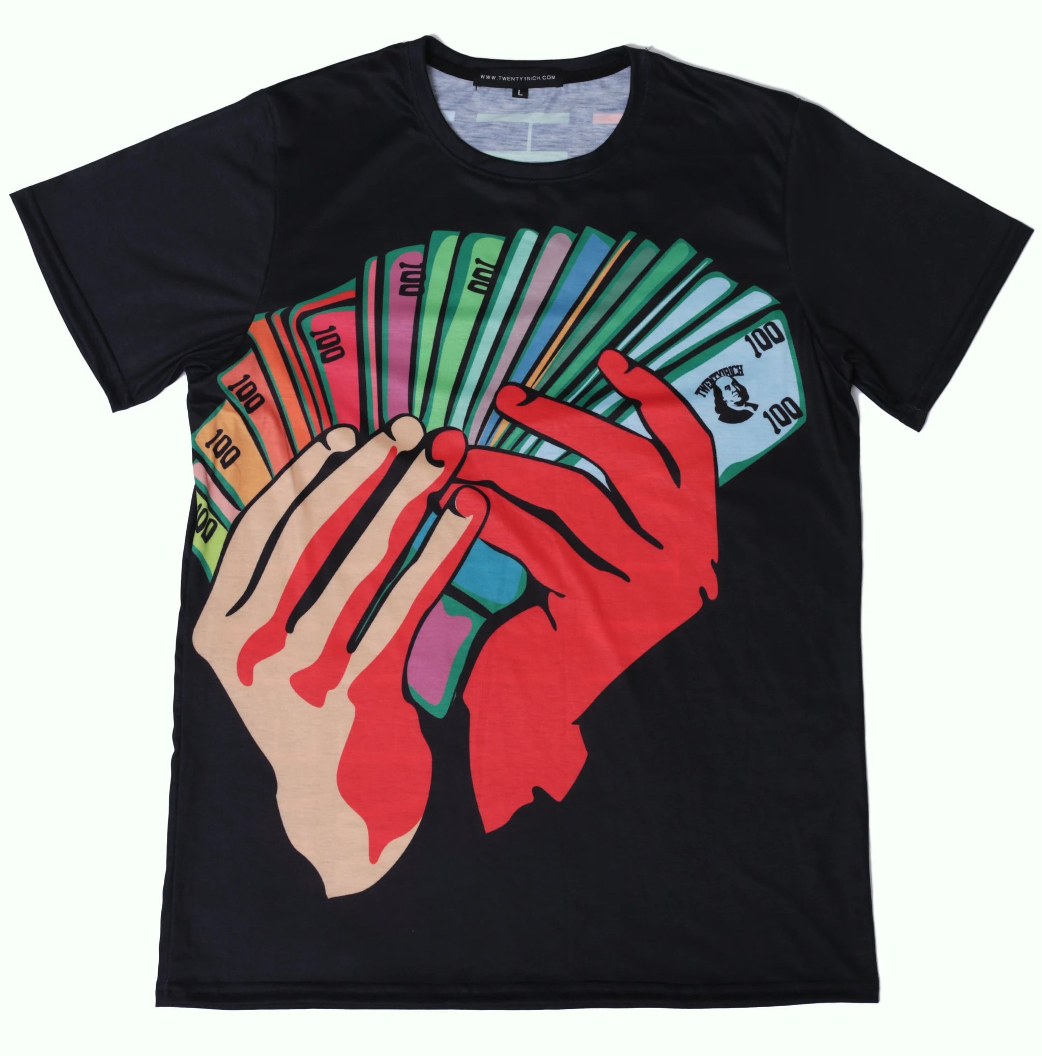 Money Fan Black Crew Neck Tee by Twenty1Rich