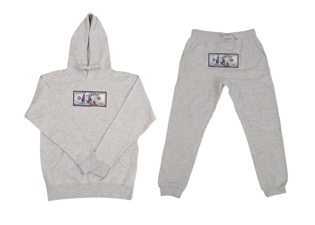 "White ""Blue Hundreds"" Hoodie and Jogger Set by Twenty1Rich with $100 logo"