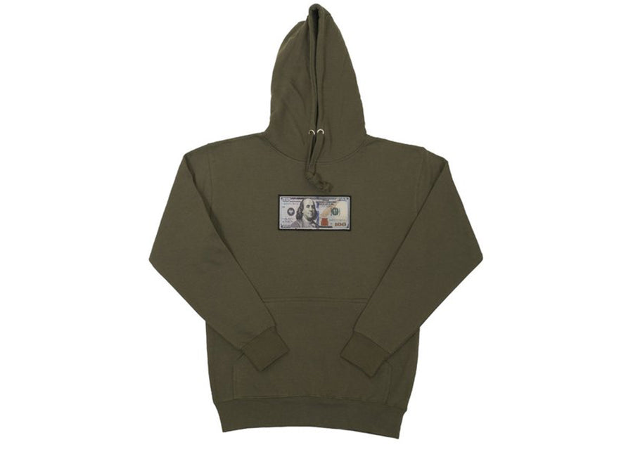 Olive Blue Hundreds Hoodie by Twenty1Rich with a $100 Blue Hundred Dollar Bill logo, Front Kangaroo Pocket, Cotton, Polyester, and Drawstring Hood