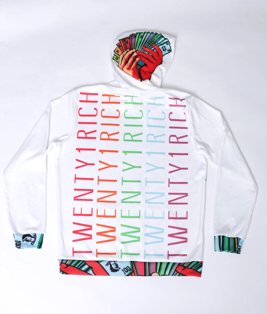 Money Fan White Pullover Hoodie by Twenty1Rich (Back)