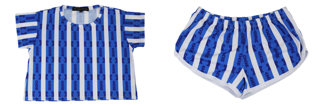 Blue Stripe Womens Summer Set