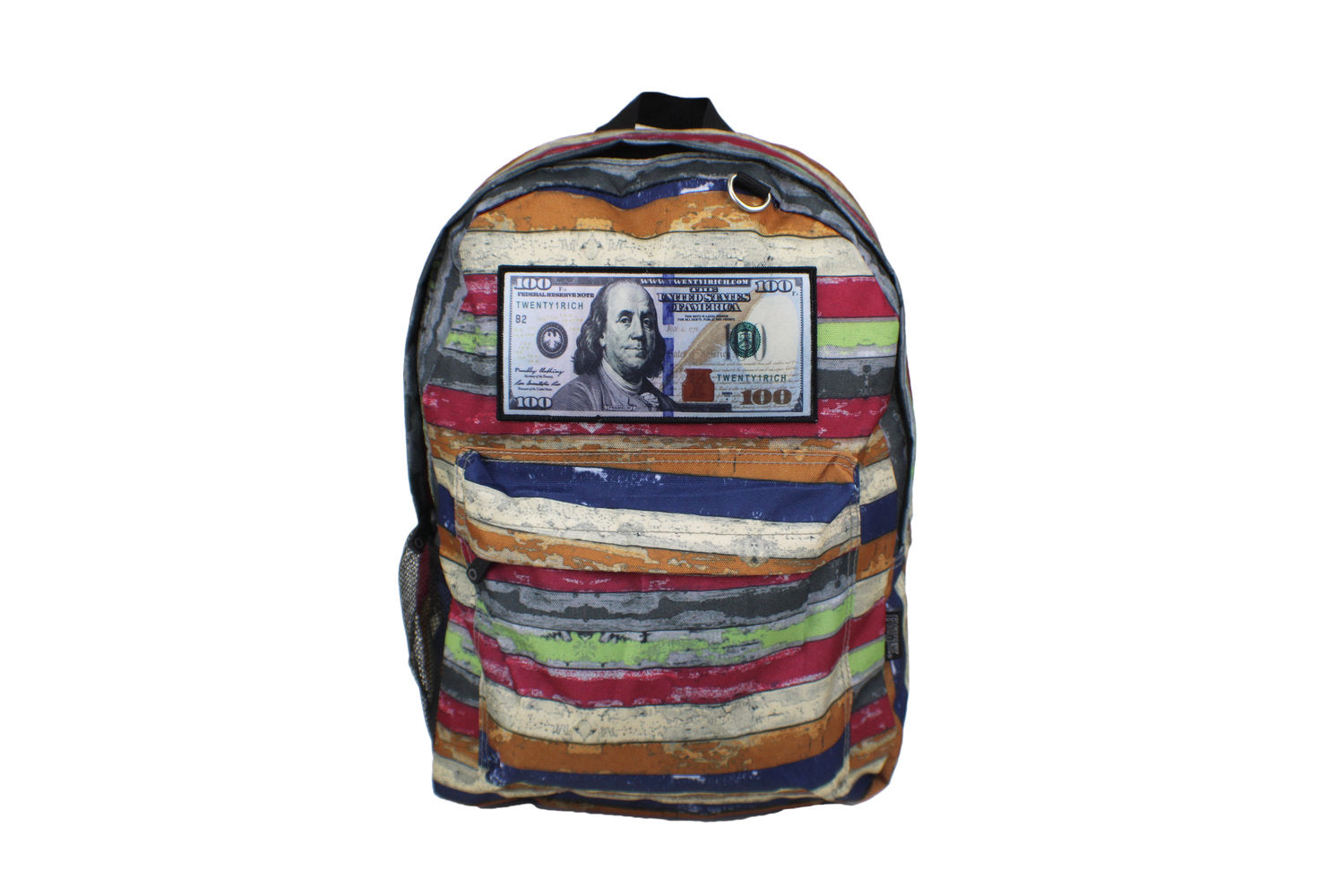 'Blue Hundreds' Backpack by Twenty1Rich with a $100 logo