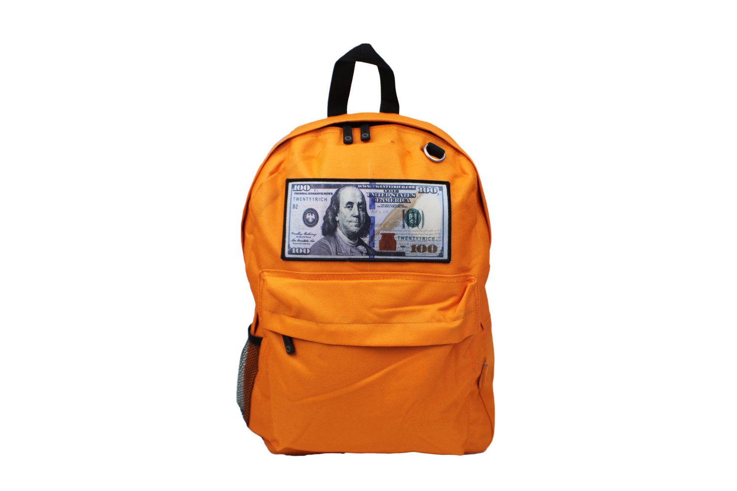 Orange 'Blue Hundreds' Backpack by Twenty1Rich with a $100 logo