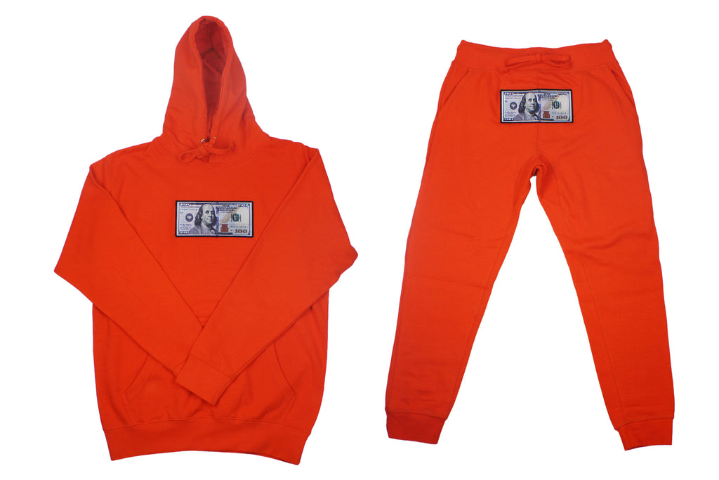 "Orange ""Blue Hundreds"" Hoodie and Jogger Set by Twenty1Rich with $100 logo"