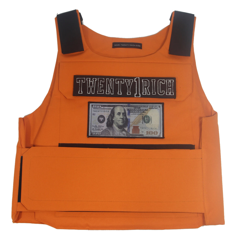 Orange Vest by Twety1Rich with a $100 logo