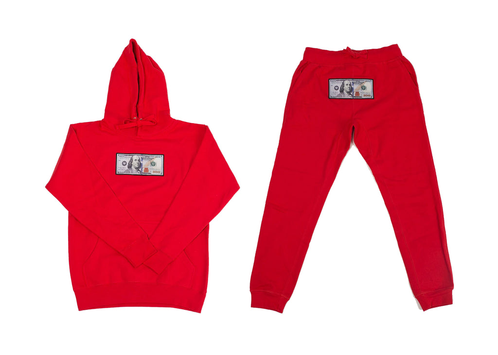 "Red ""Blue Hundreds"" Hoodie and Jogger Set by Twenty1Rich with $100 logo"