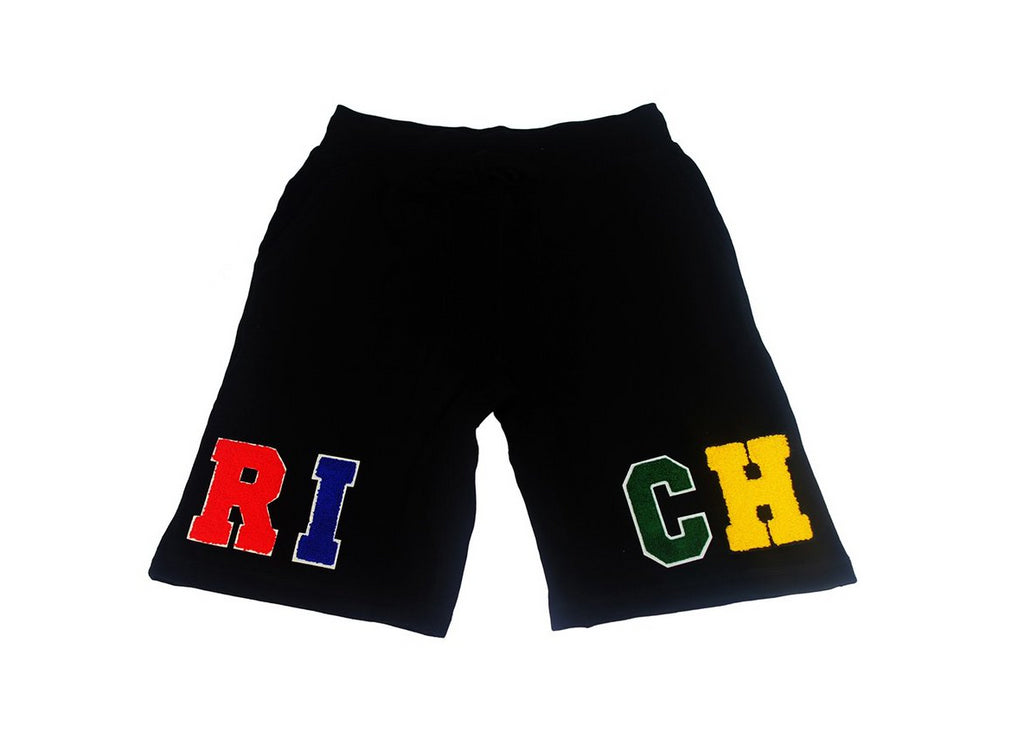 'RICH' Black Patch Shorts