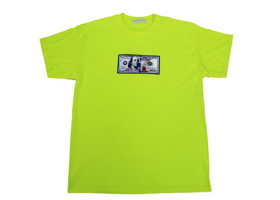 "Green ""Blue Hundreds"" Tee by Twenty1Rich with $100 logo"