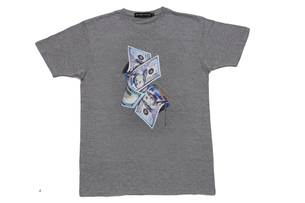 Grey Tee by Twenty1Rich with a $100 bills print