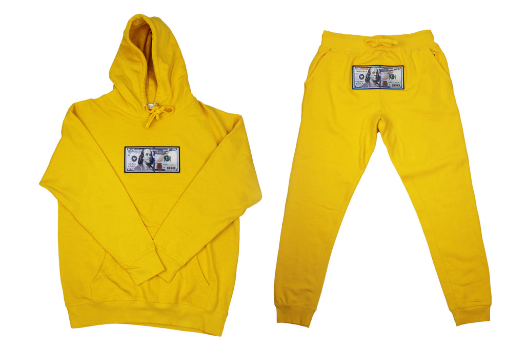 "Yellow ""Blue Hundreds"" Hoodie and Jogger Set by Twenty1Rich with $100 logo"
