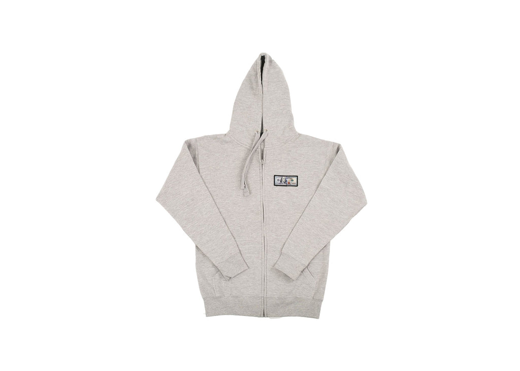 Grey 'Blue Hundreds' Zip Up Hoodie by Twenty1Rich with a $100 logo