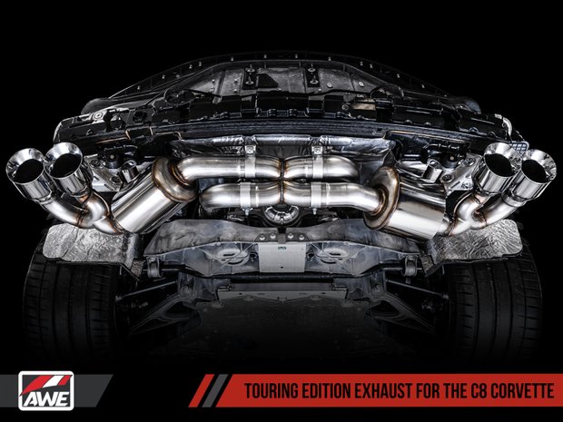 AWE Tuning 2020 Chevrolet Corvette (C8) Touring Edition Exhaust - Quad Chrome Silver Tips