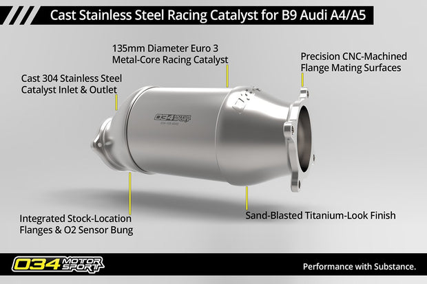 034Motorsport Cast Stainless Steel Racing Catalyst, B9 Audi A4/A5 & Allroad 2.0 TFSI