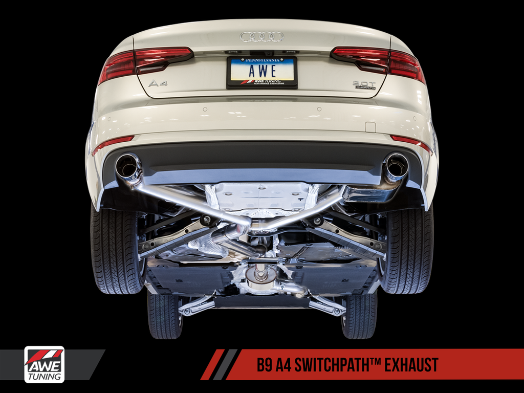 AWE SwitchPath™ Exhaust for B9 A4, Dual Outlet - (includes DP and SwitchPath Remote)