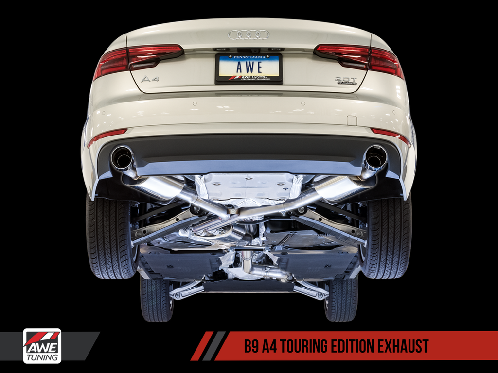 AWE Touring Edition Exhaust for B9 A4, Dual Outlet -(includes DP)