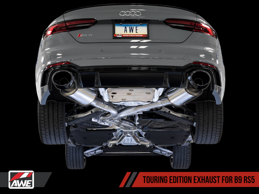 AWE Touring Edition Exhaust for Audi B9 RS 5 Coupe - Non-Resonated - Diamond Black RS-style Tips