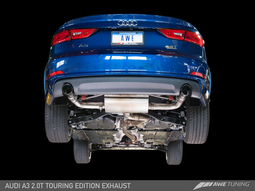 AWE Touring Edition Exhaust for Audi 8V A3 2.0T - Dual Outlet, 90 mm Tips