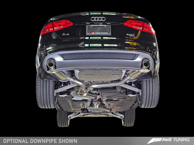 AWE Touring Edition Exhaust for B8 A4 2.0T - Dual Outlet, Polished Silver Tips