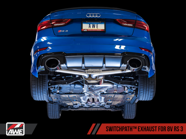 AWE SwitchPath Exhaust for Audi 8V RS 3 - Black Oval Tips