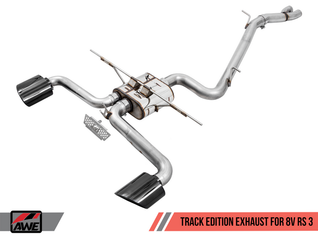 AWE Track Edition Exhaust for Audi 8V RS 3 - Black Oval Tips