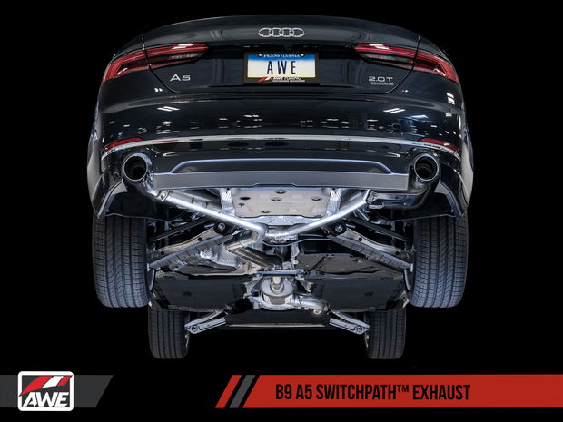 AWE SwitchPath™ Exhaust for B9 A5, Dual Outlet - Chrome Silver Tips (includes DP and SwitchPath Remote)
