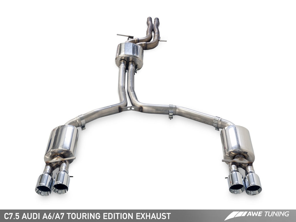 AWE Touring Edition Exhaust for Audi C7 A7 3.0T - Quad Outlet