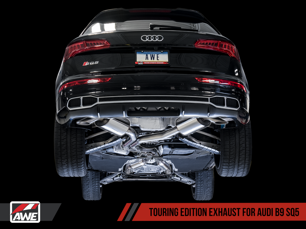 AWE Touring Edition Exhaust for Audi B9 SQ5 - Resonated - No Tips (Turn Downs)