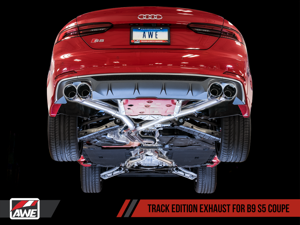 AWE Track Edition Exhaust for Audi B9 S5 Coupe - Non-Resonated - 102mm Tips