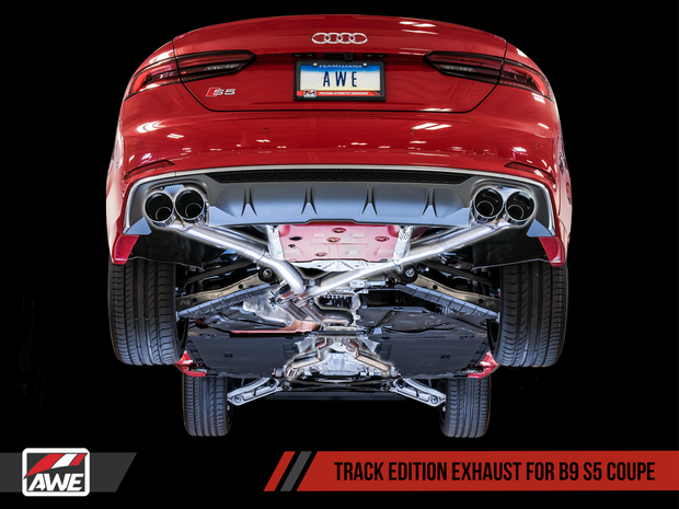 AWE Track Edition Exhaust for Audi B9 S5 Coupe - Non-Resonated - 90mm Tips