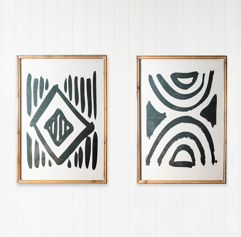 Premium Framed Glass Artwork - Tribal Pattern - Set of 2