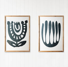 Premium Framed Glass Artwork - Tribal Flowers - Set of 2