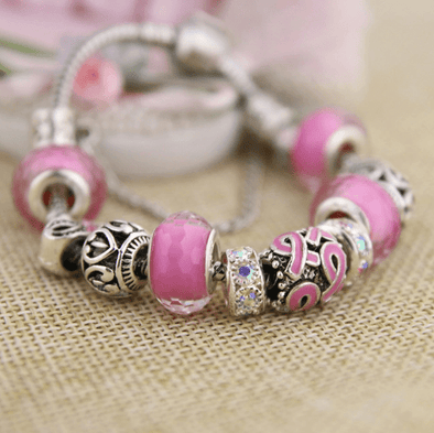 Yoga-Supreme™ Murano Glass Breast Cancer Bracelet - 50% OFF