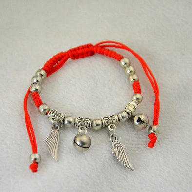 Yoga-Supreme™ Angel Wing Red Rope Charm Bracelet
