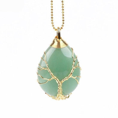 Yoga-Supreme™ Tree of Life Wire Wrap Water Drop Necklace