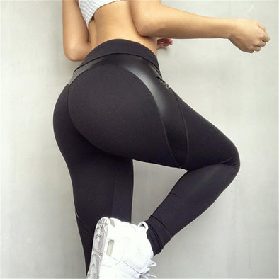 Black High Waist Elastic Running Trousers