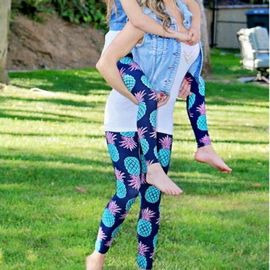 Yoga-Supreme™ Mommy & Daughter Pineapple Print Matching Leggings