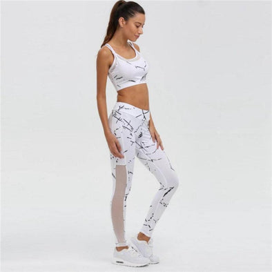 Yoga-Supreme™ White Yoga Set With Mesh Detail