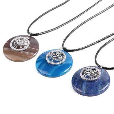 Yoga-Supreme™ Natural Gem Stone Tree of Life Necklace