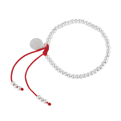 Yoga-Supreme™ 925 Sterling Silver Handmade Red Rope Beads Bracelet
