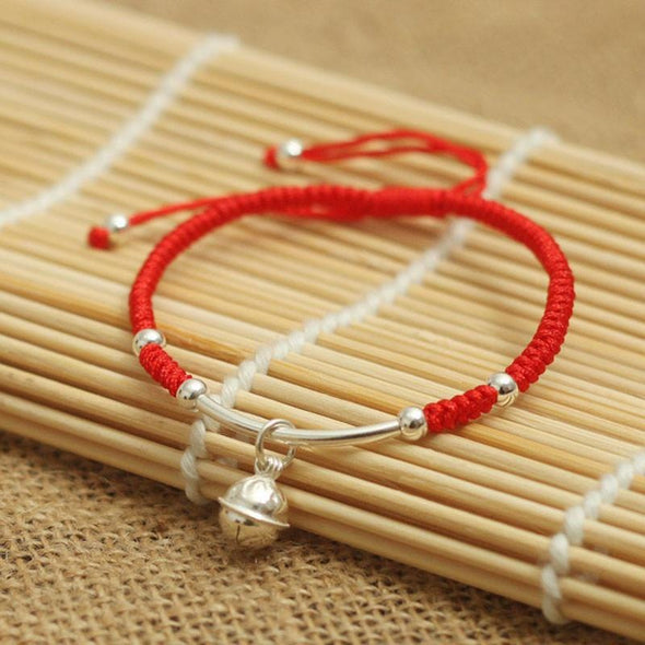 Yoga-Supreme™ Handmade Sterling Silver Bell Lucky Red Rope Bracelet